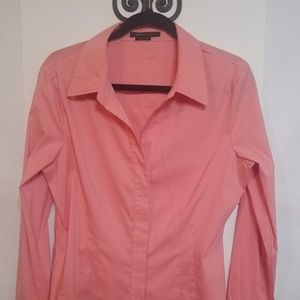 BCBG MAXAZRIA Salmon VNECK Button Down Shirt